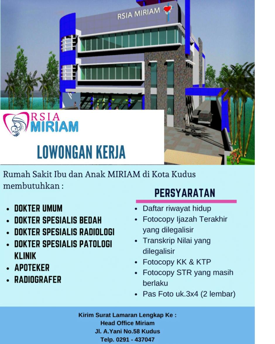 Lowongan kerja di RSIA Miriam